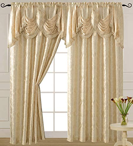 V Luxury Jacquard Curtain Panel with Attached Waterfall Valance, 54 by 84-Inch Ashley Beige