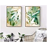 LangGe Imagen - Acuarela Tropical Green Plant Leaves Shadow Art - Nordic Poster Modern Wall Picture Home Decor 2X40x50cm sin Marco