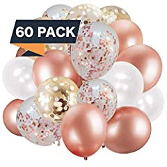 ✅Set Includes - 15 Rose Gold Balloons +15 White Balloons + 15 Rose Gold Confetti Balloons + 15 Gold Confetti Balloons + 6 ribbons ✅Great for Bachelorette Parties, Engagement Parties, Birthdays, Bridal Showers, Baby Showers, Weddings, Graduations,+ mo...