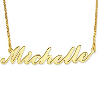 BINKILA Name Necklace Personalized Pendant Custom Necklace 18K Gold Nameplate Dainty Sterling Silver Gift for Mother Girlfriend