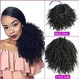 Afro Kinky Curly Ponytail Extensiones de Humano Cabello Pelo Natural Humano Rizado Cola Cabello Humano Afro Ponytail Hair 16 Pulgadas Negro Natural 120 Gram