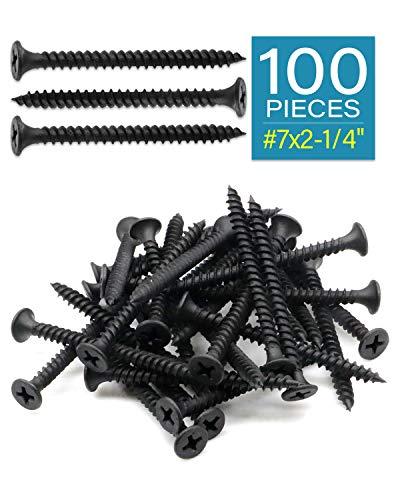 "IMScrews 100pcs #7x2-1/4"" Flat Head Phillips Drywall Screws Fine Thread Sharp Point Wood Screw Assortment Kit, Carbon Steel 1022A, Black Phosphate"