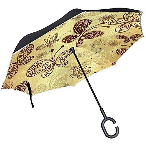 Astridh Ombrello a Farfalla Dorato Vintage, Ombrello a Doppio Strato inverso Impermeabile per Auto Pioggia all'aperto con Manico a Forma di C.