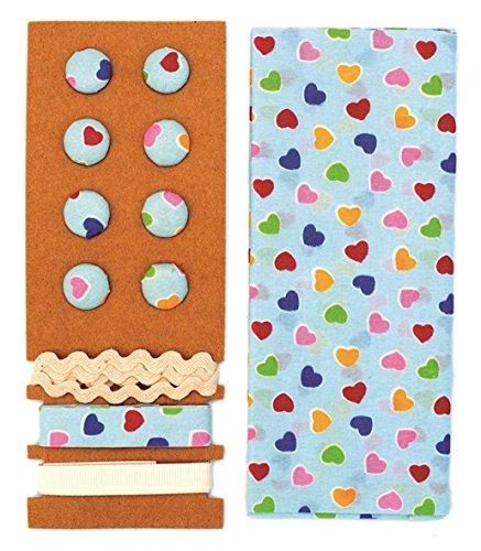Lili Rose Kit textile bleu/multicolore Cœur 48 x 48 cm Bandes 3 x 1 m 8 boutons
