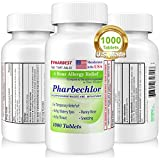 4 Hour Allergy Relief 1000 Ct [Made in USA] | Itchy, Watery Eyes, Runny Nose, Sneezing, Sinus Relief | Chlorpheniramine Maleate 4 mg | Antihistamine Allergy Medicine Pharbechlor by Ulai (1 Bottle)