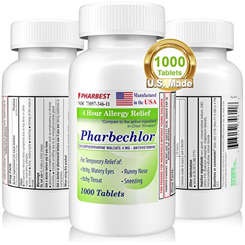 4 Hour Allergy Relief 1000 Ct [Made in USA] | Itchy, Watery Eyes, Runny Nose, Sneezing, Sinus Relief | Chlorpheniramine Maleate 4 mg | Premium Antihistamine Allergy Medicine Pharbechlor by Ulai