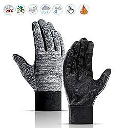 Lzfitpot Unisex Winter Gloves Touchscreen Warm Cycling Gloves, Waterproof, Windproof & Non-Slip, Black, Size M