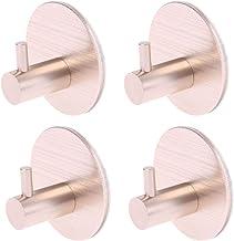Abcidubxc 4 ganchos autoadhesivos redondos, no requiere taladro, para pared, puerta, dorado