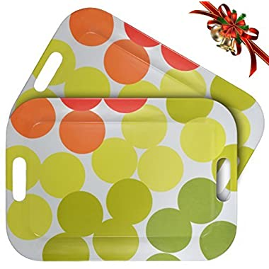 WUMN Colorful Plastic Serving Tray with Handles, BPA-free Safety Fast Food Tray, Rectangular Melamine Tray 17  x 12 ,Serving Plate and Platters - Set of 2