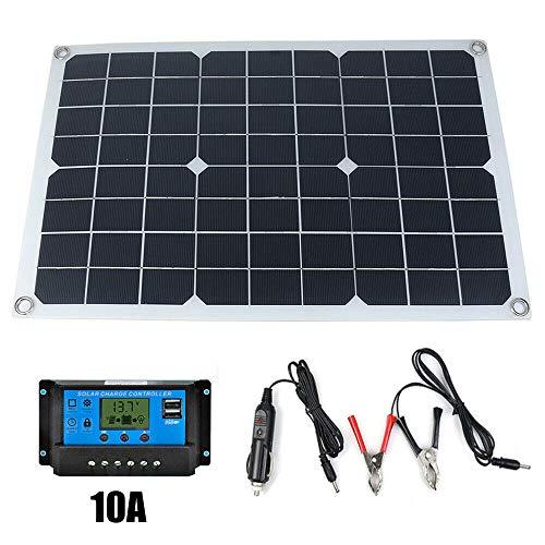 Weehey 50W 12V / 5V monokristallines Silizium Solarpanel Dual Output USB Solar-Ladegerät mit 10/20 / 30A / 40A / 50A Solarladeregler