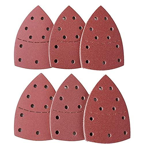 60 unidades, Hojas de papel de lija para Mouse de 11 agujeros, grano 40-240, aptas para Bosch Multi-Sander PSM 100A, PSM 200 AES, PSM 18 y todas las multiherramientas oscilantes