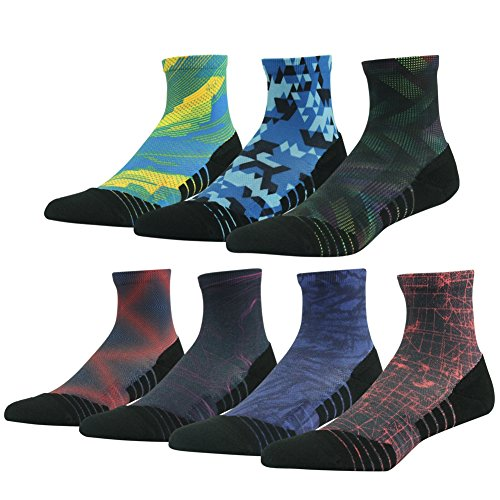 Hiking/Trekking Socks, HUSO Colorful Printed Smooth Toe Seam No Blister Outdoor Socks for Men Women,7 Pairs (Assorted,L/XL)