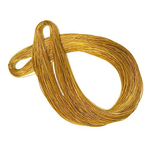 Gold Ornaments String Sparkle Thin Thread For Braids Dreadlocks Twists Gift Tags Metallic Hair Wrap String,100M/109 Yards-1mm Craft Cords