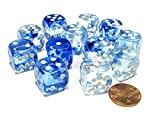 Chessex Dice D6 Sets: Nebula Dark Blue with White - 16Mm Six Sided Die (12) Block of Dice