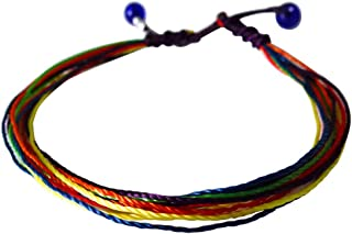 e565fcf8c40 Surfing string Friendship bracelet medium 6.5-8.5 inches rainbow macrame  with sea glass beads adjustable