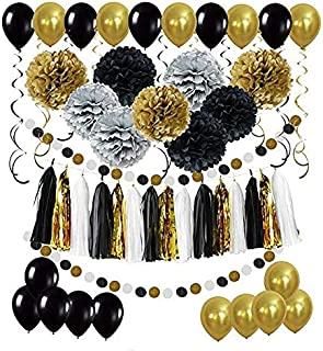 DIY Paper Pom Poms with Tissue Paper Tassel, Polka Dot Garland, Hanging Swirl Decorations and Balloon Kit for Birthday Wed...