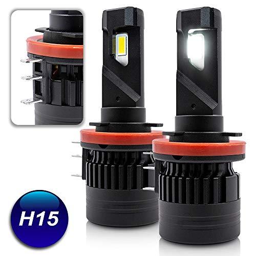NJSBYL H15 LED Headlight Bulbs HB1 Bright White 60W 6500K 10000LM H15 High Low Beam Led Headlight Daytime Runing Light Kits Conversion Kits