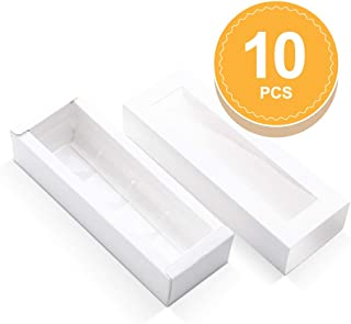 BAKIPACK Truffle Boxes, Chocolate Boxes, Candy Box Packaging with 4-Piece Plastics Tray(Tray Size with 5.75x1.25 Inches), Pull Out Packing with Clear Window Sleeves, White 10 PCS