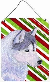 Caroline's Treasures Siberian Husky Candy Cane Holiday Christmas Metal Wall or Door Hanging Prints, 16