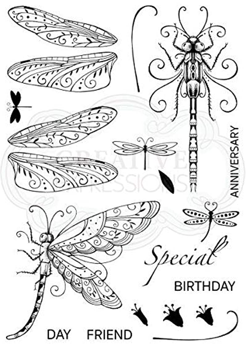Pink Ink Designs A5 Clear Stamp Set Dragonfly