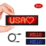 LED Name Sign for Business 44 x 11 Pixels and USB Programming Digital Display, Rechargeable LED Card Screen for Bar Hotel Party Supermarket School and Restaurant - LED Name Badge Red