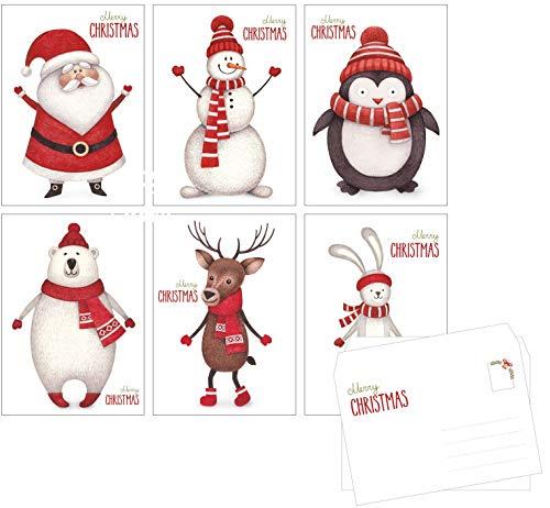 ArtUp.de 12 Weihnachtskarten mit Umschlägen im Set - 6 lustige Motive Rückseite mit viel Platz für Weihnachtsgrüße