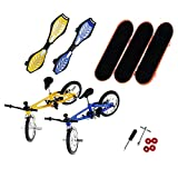 ECMQS 8 Stücke Tech Deck Finger Fahrrad Und Skateboard for Kinder,3 Stück x Finger Skateboards,2 Stück x Finger Fahrräder,2 Stück x Finger Swing Board,1 Set x Zubehör -