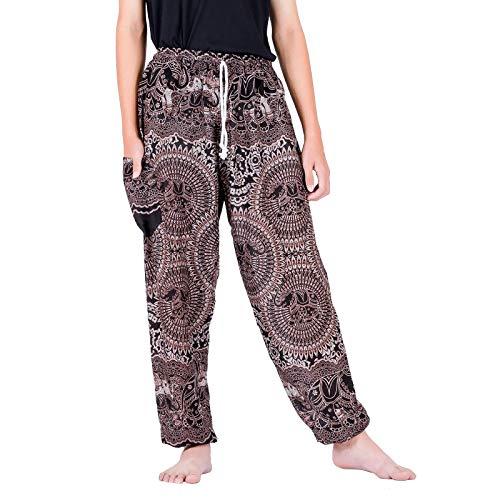 Lofbaz Boho Pantalones con Bolsillos para Hombres Yoga Pijamas Ropa de Sport de la Playa de la Ropa del Adulto Hombre Elephant 18 Negro S