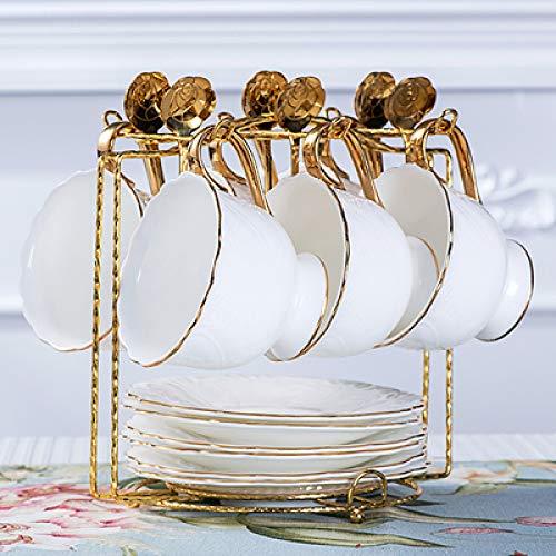 Tasse Creative Hotel luxuriöses Café Kleine frische Ins Nordic Kaffeetasse Italienische einfache reine weiße Blume Teetasse Umriss in Gold Porzellan Kreative Tasse 6-teiliges Set 200ml