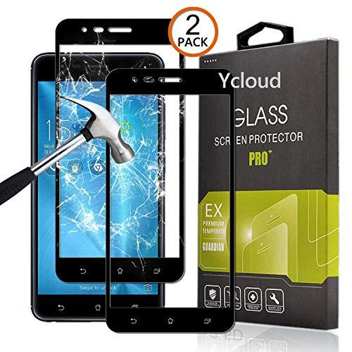 Ycloud [2 Pack Protector de Pantalla para ASUS Zenfone 3 Zoom S ZE553KL / Zenfone3 Zoom [Cobertura Completa] Vidrio Templado Screen Protector (Negro)