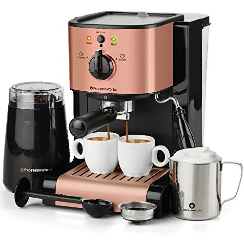 7 Pc All-in-One Espresso & Cappuccino Maker Machine Barista Bundle Set w/Built-in Steam Wand (Inc: Coffee Bean Grinder, Portafilter, Frothing Cup, Spoon w/Tamper & 2 Cups) (Rose Gold)