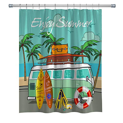 Summer Shower Curtains RV Surfboard Palm Tree Freedom Holiday, Fabric Cloth Shower Curtain Set with Hooks, 71X 71 in