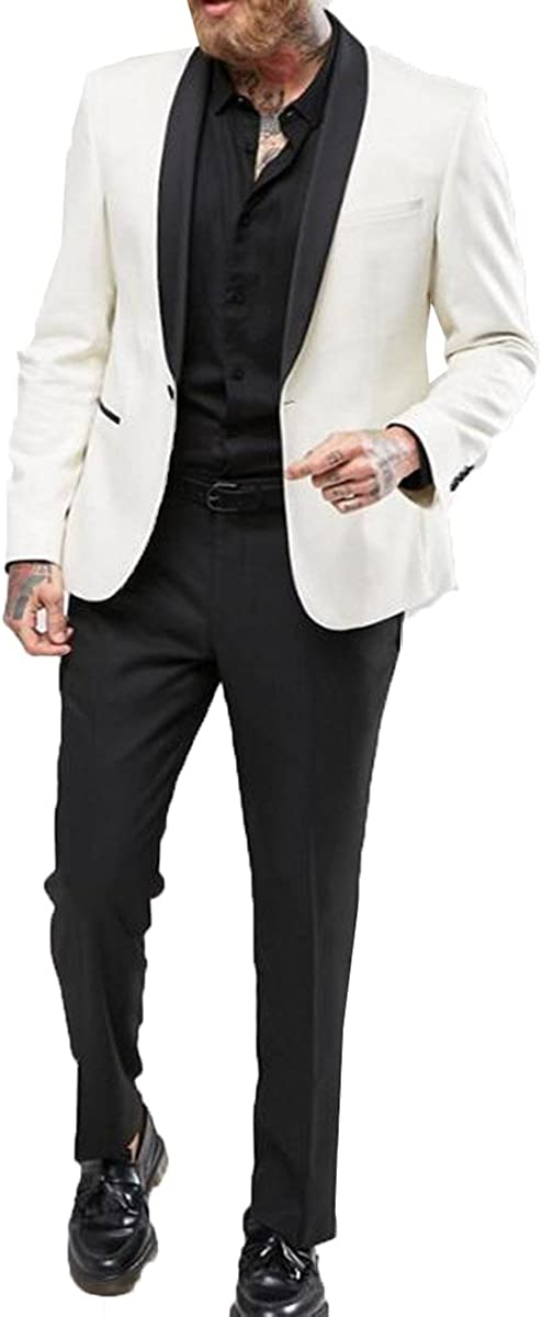 Men's One Button 2-Piece Slim Fit Business Suits Wedding Suits Groom Groomsmen Blazer+Pants(Ivory,44US/UK & 54EU)