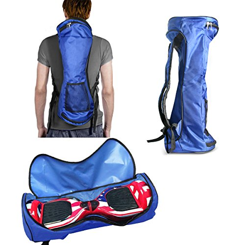 GameXcel Self-Balancing Scooter Carrying Backpack Bag for 6.5' 7' and 8' Two-Wheel Hover Board Bag Smart Balancing Scooters Storage Mesh Pocket Adjustable Shoulder Strap Blue