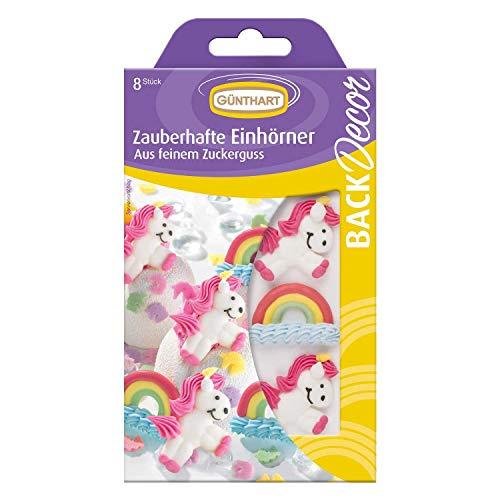 BackDecor mit je 8 Zucker Einhörner | Regenbogen | aus Zuckerguss | Märchen | Unicorn | Rainbow | Pony