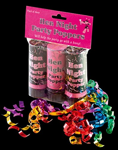 Pack Of 3 Hen Night Party Poppers! (2x Black, 1x Pink)