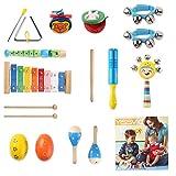 YISSVIC 13Pcs Instruments de Musique Enfant Bébé Jouet en Bois pour Enfant Ensemble...