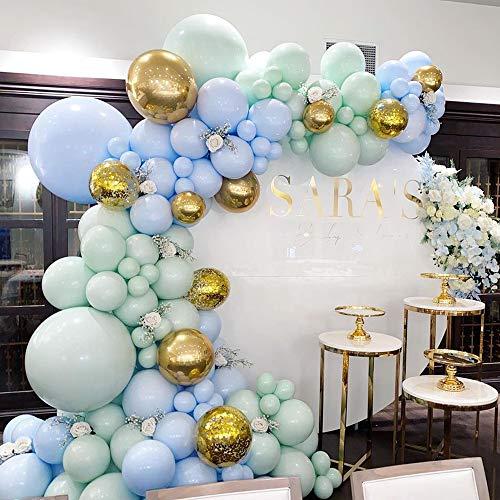 Kit de guirnalda de globos, decoración de fiesta de cumpleaños, guirnalda, verde menta, azul, globo dorado metálico, para arco de globo, fiesta de niño, baby shower, fiesta de graduación de boda.