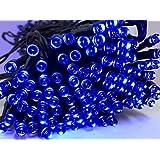 〔 ZAZ 〕 電気代ゼロ ブルー 200球 LED イルミネーション 太陽光発電 ソーラー 充電式 LED イルミネーション 発光モードは8パターン ケーブル長 約18m 光センサー内蔵 自動ON/OFF クリスマス 正月 イルミ 色:ブルー