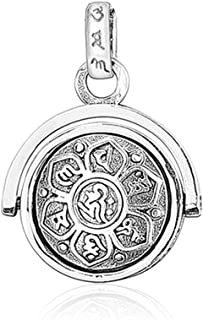 925 Sterling Silver Rotating Charm Pendants for Women Mother Men Buddhism Wisdom Mercy Gifts (Pendant)