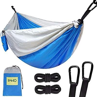 Camping Hammock Single Portable Hammocks with 2 Tree Straps, Lightweight Nylon Parachute Hammocks for Backpacking, Travel, Beach, Backyard, Patio, Hiking (Blue)