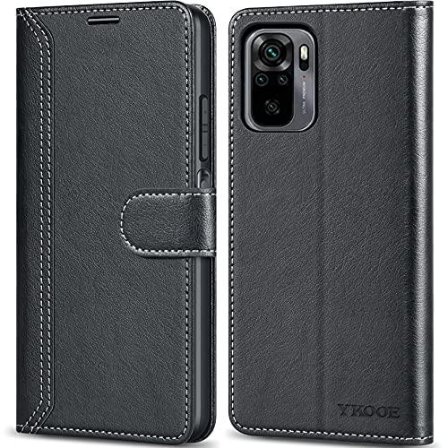 ykooe Handyhülle für Xiaomi Redmi Note 10 Hülle, Hochwertige PU Leder Handy Schutz Hülle für Xiaomi Redmi Note 10 4G Flip Tasche, (Nicht für Xiaomi Redmi Note 10 5G) Schwarz