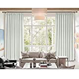 Cololeaf Pinch Pleated Curtain Solid Thermal Insulated Blackout Patio Door Panel Drape For Traverse Rod and Track for Family Room Dining Romm Kidroom Library, Beige White 84'W x 102'L Inch (1 panel)