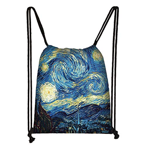 Mochila Deportiva Con Cordón,3D Impermeable Van Gogh Estrellado Cielo Impreso Portátil Daypack, Bolsillo Del Paquete De Viaje Cosmético Ligero, Para Las Mujeres Playa Natación Gimnasio Casual Bol