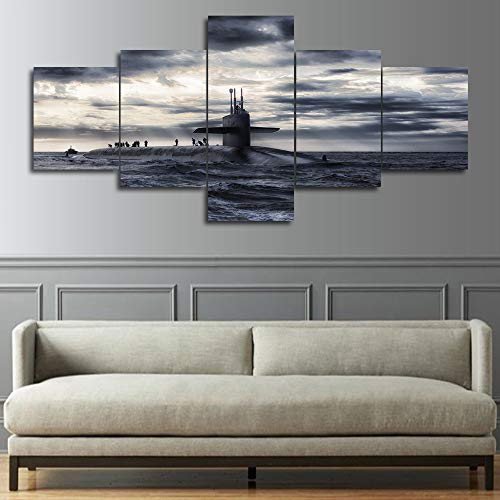 Military Wall Decor US Navy Submarine Painting Old Ship /Boat Pictures Black and White Wall Art Multi Panel Canvas Artwork Living Room Home Decor Frame Ready to Hang Posters and Print(50''Wx24''H)