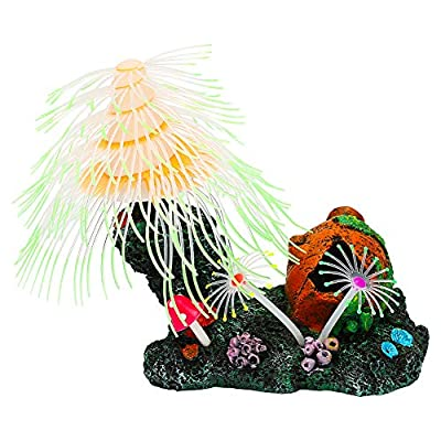 Uniclife Glowing Jellyfish/Christmas Tree Sillicon Ornament Decoration for Aquarium Fish Tank