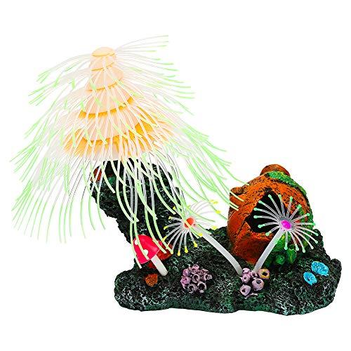 Uniclife Christmas Tree Fish Tank Decorations Glowing Effect Ornament Silicone Aquarium Decor, Green