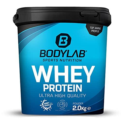 Protein-Pulver Bodylab24 Whey Protein Bourbon Vanille 2kg, Protein-Shake für die Fitness, Whey-Pulver kann den Muskelaufbau unterstützen, Hochwertiges Eiweiss-Pulver mit 80% Eiweiß, Aspartamfrei