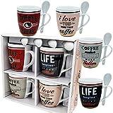 Coffee Mug Set 4 Mug and Spoon Porcelain Set 4 pcs 12 oz White Mug Unique Coffee Mugs and Tea Cups - Gift Boxed - A Great Marriage or Friends Gift Set Retro Style