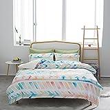 SLQL Juego de ropa de cama Anime Themed de ropa de cama multicolor con estampado geométrico de 3 piezas, juego 1 funda nórdica y 2 fundas de almohada de microfibra suave 135 x 200 cm